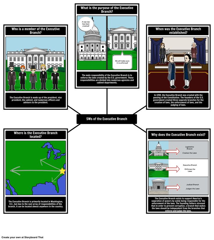 Create a 5 W's spider map for the Executive Branch using Storyboard That with your students. View the full teacher guide here: https://www.pinterest.com/storyboardthat/the-executive-branch/