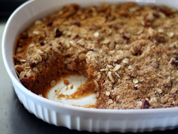Healthy Lightened Up Sweet Potato Casserole with a Pecan Oat topping - uber creamy and delicious! You can't tell it's better for you!