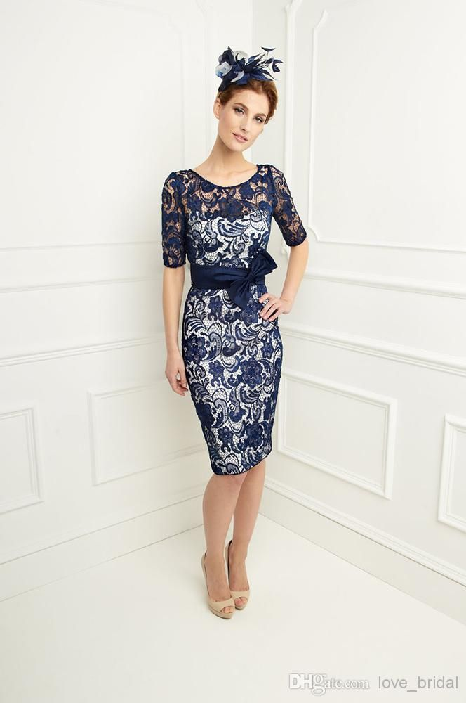 Wholesale Mother of the Bride - Buy 2014 Custom Made Bow Half Sleeves Jacket Sheath Knee Length Dark Navy Lace Mother Of The Bride Dresses/S...