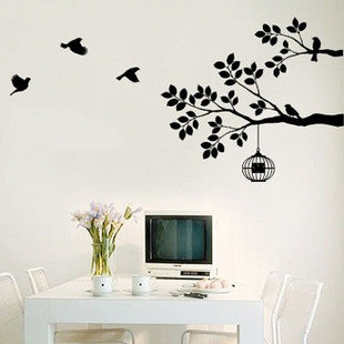 Tree Branches with Birds n Cage Wall Decal Vinyl by looksbetter, $45.00