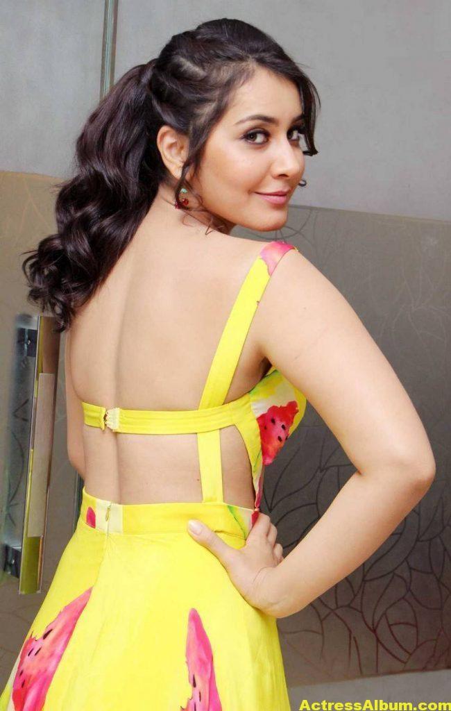 Rashi Khanna Ponytail Hair Stills yellow Dress 2
