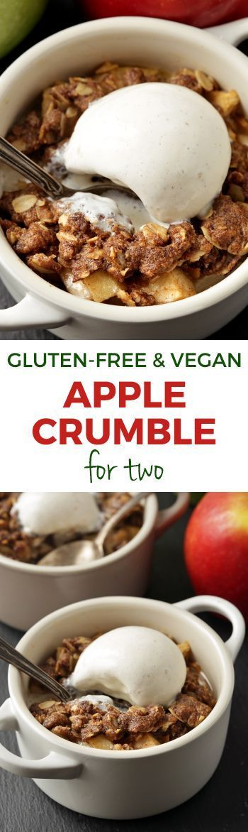 Apple Crumble for Two - vegan, gluten-free, 100% whole grain and dairy-free!