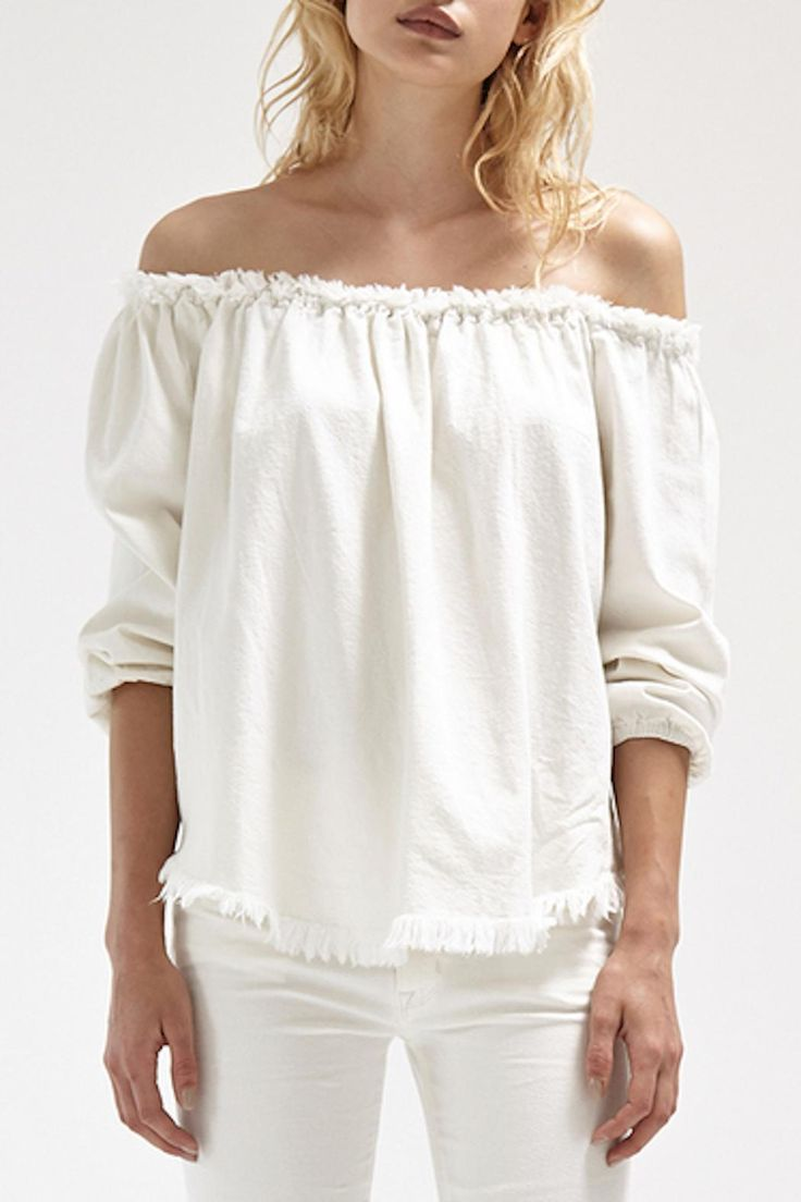 Long Sleeve Off-the-shoulder denim top with elastic cuffs and frayed edges on hem and neckline.    Judiah Top by Steele. Clothing - Tops - Casual Clothing - Tops - Blouses & Shirts Clothing - Tops - Off The Shoulder New South Wales, Australia