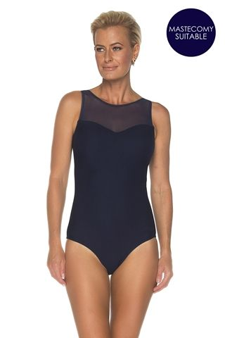 ff9a1ccea5 Togs flattering black textured one piece swimsuit with beautiful high neck  mesh detail. This swimsuit