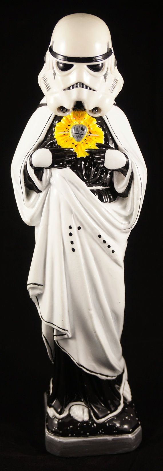 Hand Painted Virgin Mary as Stormtrooper statue. Exploding Death Star sacred heart. Legit Helmet. It has been clear coated so its nice and glossy. The