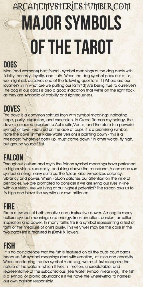 Tarot Tips. Major Symbols of the Tarot (4) http://arcanemysteries.tumblr.com/