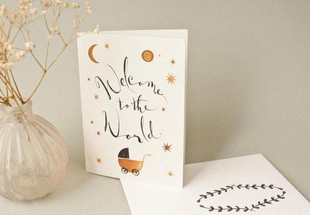 """Klappkarte und Umschlag zur Geburt """"Hallo Baby"""" / greeting card """"hello baby"""", birhtday gift by bär von pappe via DaWanda.com"""