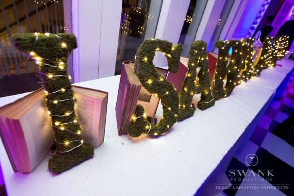 Bat Mitzvah Girl's Name in Fairy Lights {Party by Swank Productions, Sean Smith Photography} - mazelmoments.com