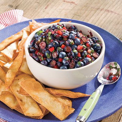 Blueberry Salsa | This good-for-you salsa can be ready for a party in 15 minutes flat. Serve with sturdy pita chips or atop grilled chicken.