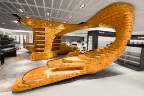 The Frankfurt Regionals Was Designed By Graft A Creative Wooden Installation For Heinemann Duty Free Shops In Airport Germany