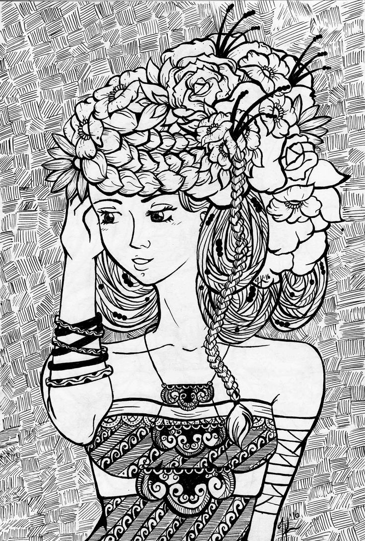 Flower Hair. A traditional work of a girl with flower braided with her hair.