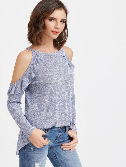 Camiseta con hombro descubierto y volantes - azul