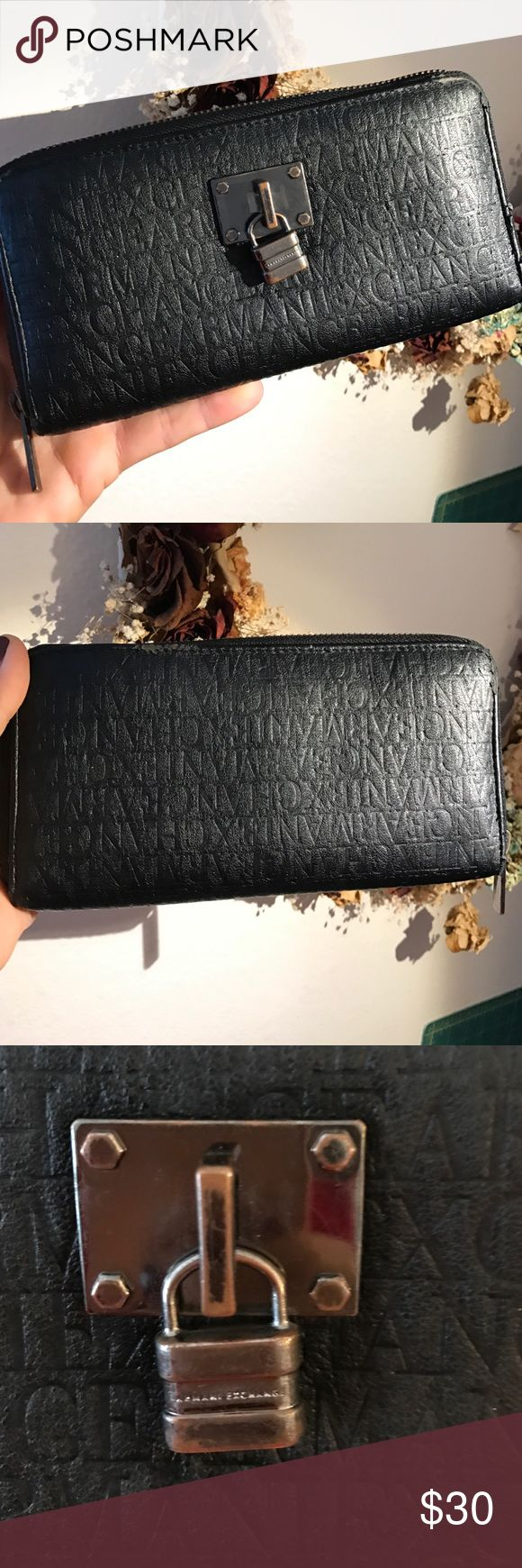 "Armani Exchange Clutch/Wallet Black previously adored Genuine Armani Wallet/Clutch dimensions: 4"" x 8"". Make an Offer! No reasonable offer will be refused!😘😘😘😘 A/X Armani Exchange Bags Clutches & Wristlets"