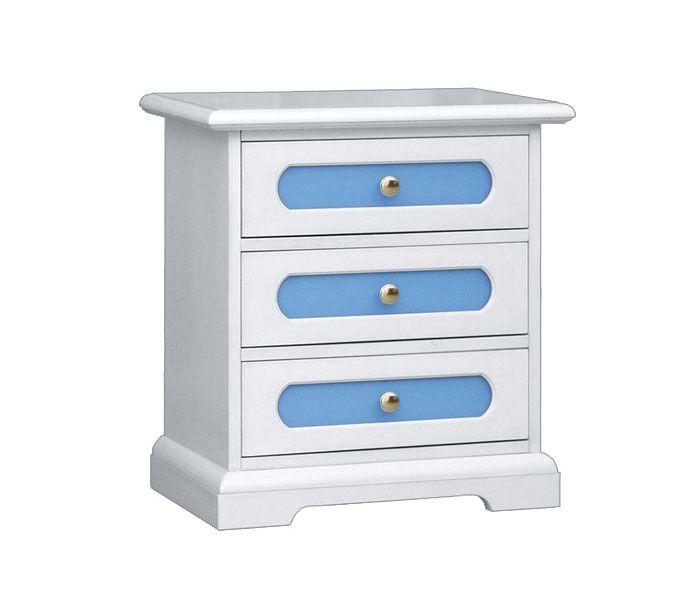 www.italian-style.co.uk 3-drawer Nightstand - ItalianStyle by ArteFerretto. A 3-drawer nightstand with light blue drawers, for kid's bedroom.