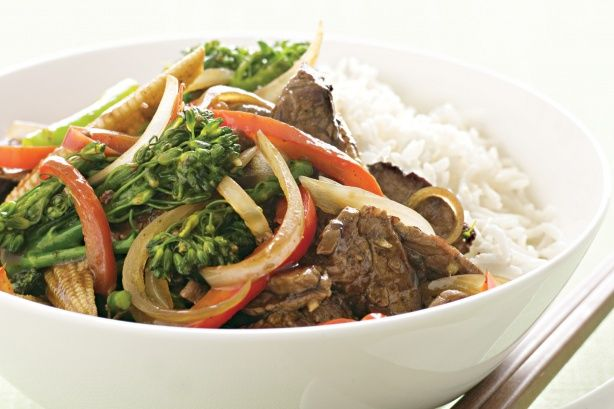 Basic beef and vegetable stir-fry. 461 calories if served with 1/2 cup of brown rice!