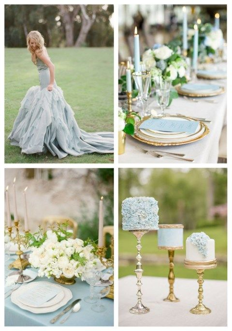 26 Delicate Dusty Blue And Gold Wedding Ideas Spring