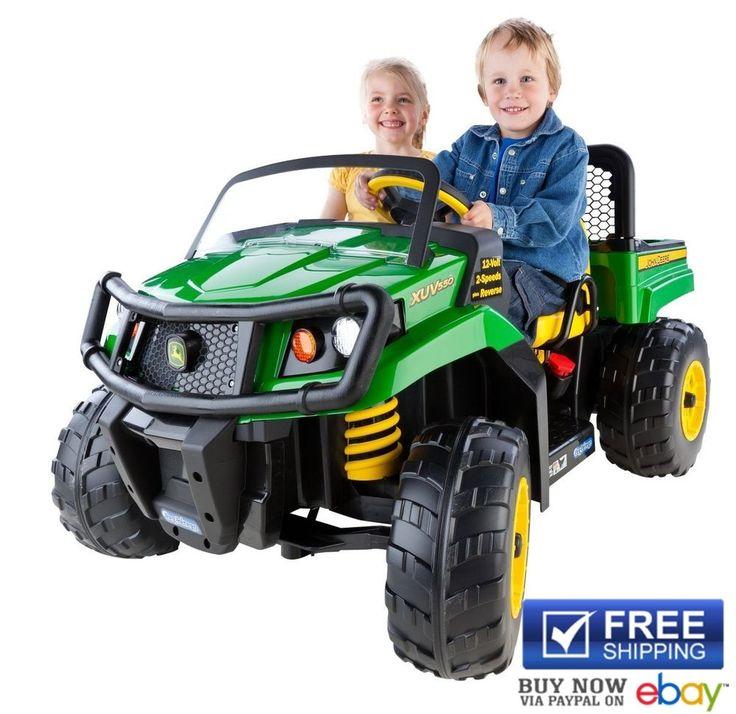 Peg Perego Power Wheels John Deere Gator Green XUV Truck Kids Ride on Toys Farm #PegPerego