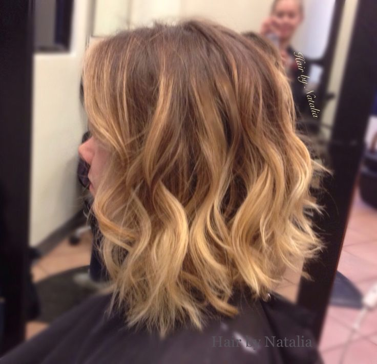 blonde balayage and messy beach waves on short hair caramel highlights on mid length bob. Black Bedroom Furniture Sets. Home Design Ideas