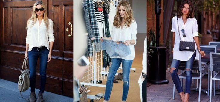 женская белая рубашки и синие джинсы - Пошук Google