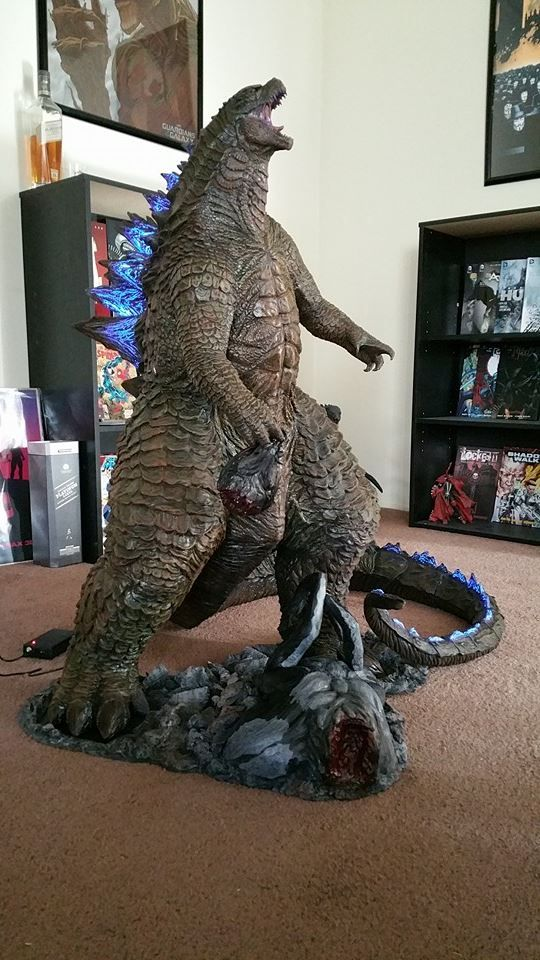 Godzilla 2014 created by Hector Arce and Ernie Galvez.  Roaring his defiance with spines a-glow!  Awesome!