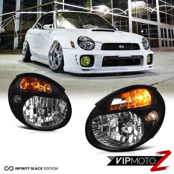 Fit 2002 2003 Subaru WRX Impreza STI EJ20 S202 EJ25 Bug Eye JDM Black Headlight #VIPMOTOZ