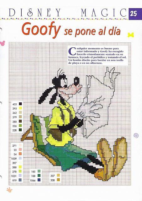 Pippo Disney che legge il giornale schema punto croce - magiedifilo.it punto croce uncinetto schemi gratis hobby creativi