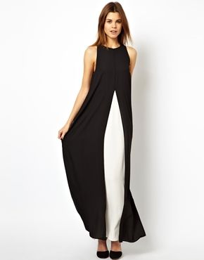 How cool for a wedding - goes with men's 'Penguin Suits'!   ASOS Slit Front Contrast Maxi Dress