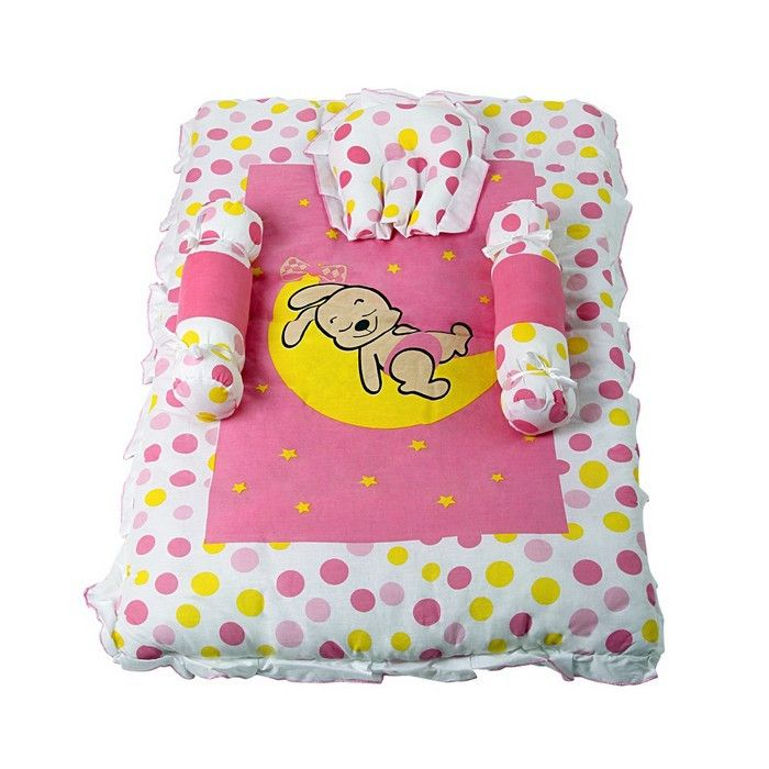 | Baby Bed Set-Classic-Bunny Print-Pink