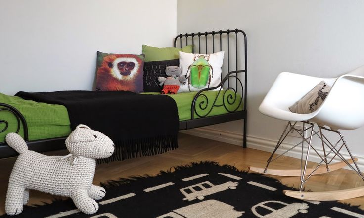 New bed in kids room! Bed from Ikea, RAR-rockin chair by Vitra, carpet from Tikau