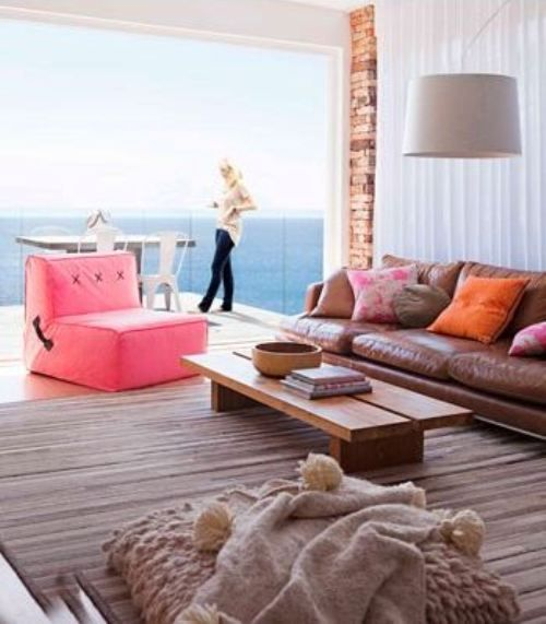 neutral with a little neonDecor, Ideas, Leather Couch, Dreams, Living Spaces, Real Living, Interiors, Beach Houses, Modern Living Room