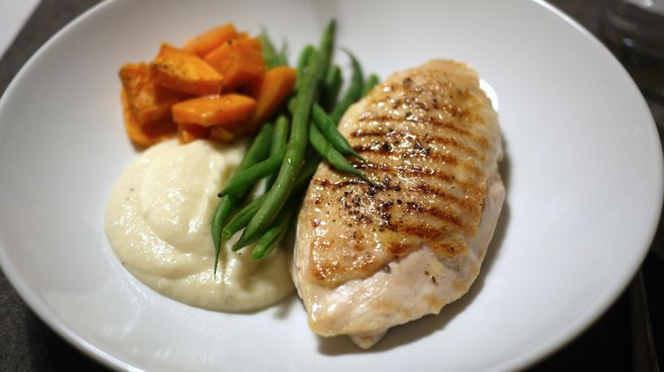 Grilled Chicken Fillet with Cauliflower Puree and Sweet Potatoes