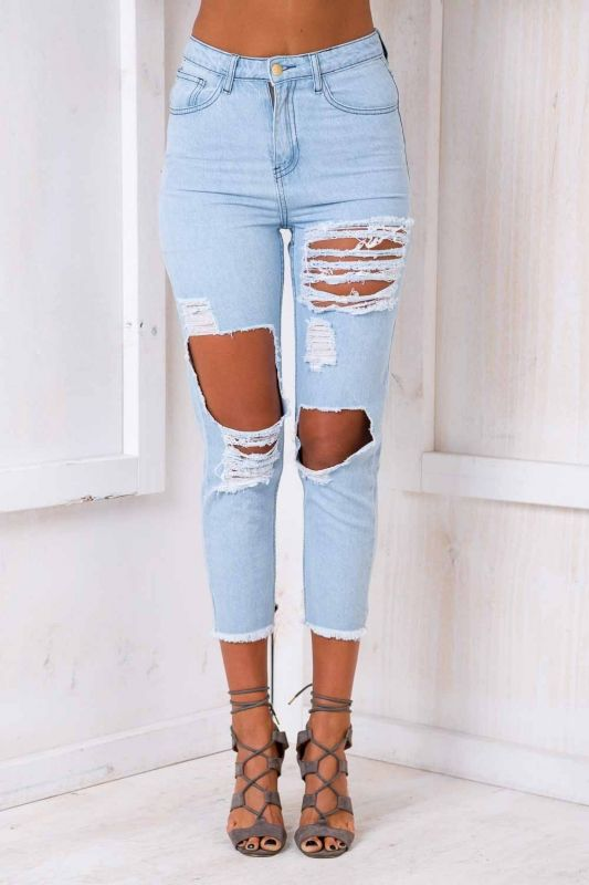 """The """"Danny Boy Jeans"""" is the stylist pick. Featuring a baggy oversized look, rips across thighs and knees and distressed anklehemline. Pair it with a knotted crop top for a casual look. Size 8 Length:93cm/ Width:35cm Cotton/ Polyester Cold Hand Wash Only Model wears a size 8 Model's height 180cm Imported A slight variation may occur in colours and size specifications. Colours may appear slightly different via website due to computer picture resolution and monitor s..."""