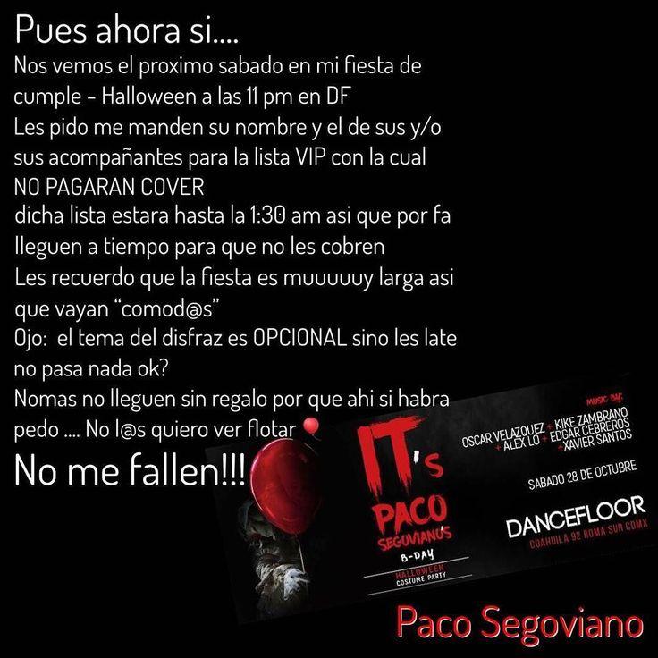#CDMX El sábado es la fiesta de @pacosegoviano en @dancefloor_mx. Están avisados. Ahí nos vemos.
