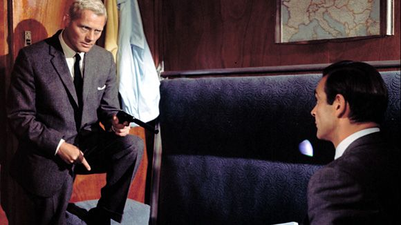 A still from the 1963 James Bond blockbuster, From Russia With Love. Pictures Sean Connery as Bond and Robert Shaw as professional assassin Red Grant, shortly before an ensuing struggle in a cabin on board the train
