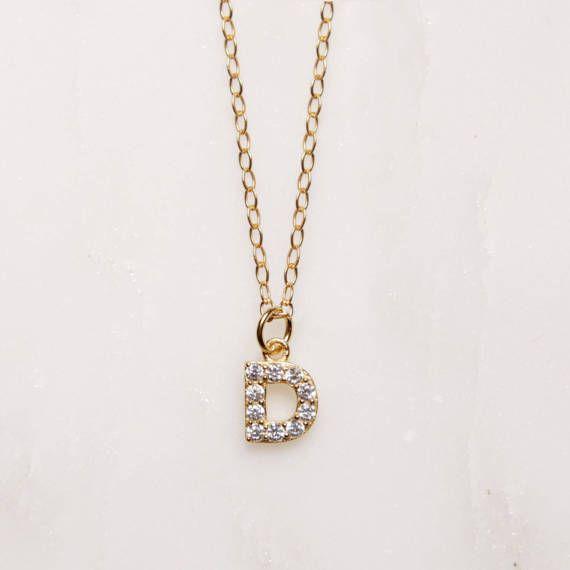"""Inicial """"D"""" - collar personalizado personalizado - delicado collar - collar oro - nombre inicial collar para la mujer - elegante"""