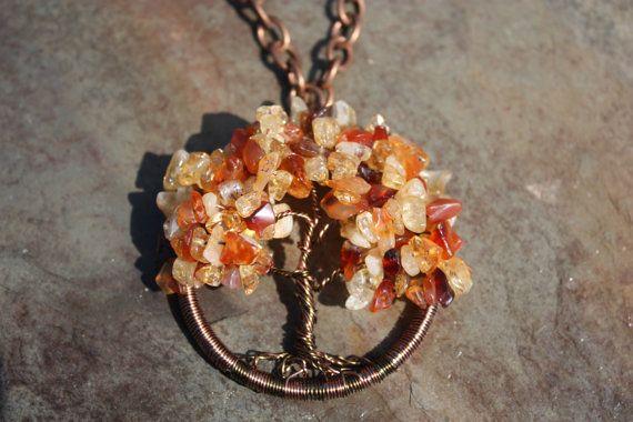 Citrine and Carnelian Autumn Sugar Maple Tree of by SlatedInSpirit
