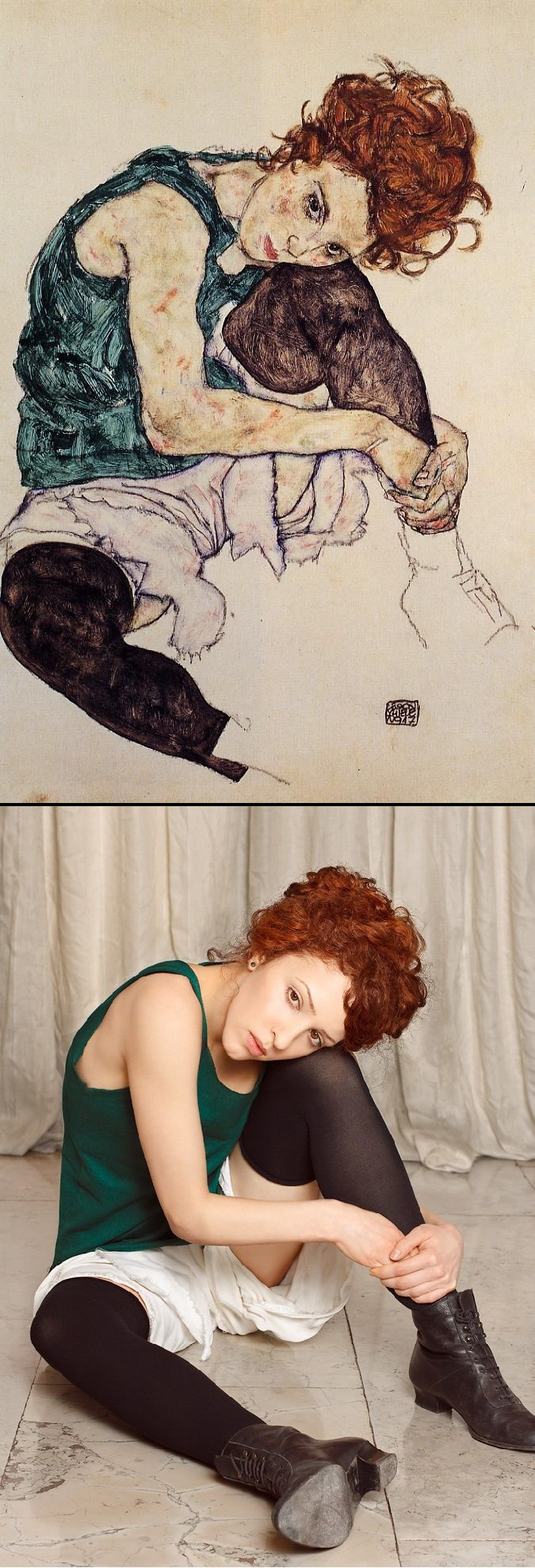 Seated Woman with Bent Knee by Egon Schiele (1917) / Seated Woman with Bent Knee by The Essence of Decadence http://www.tanialazlo.com/the_essence_of_decadence.html