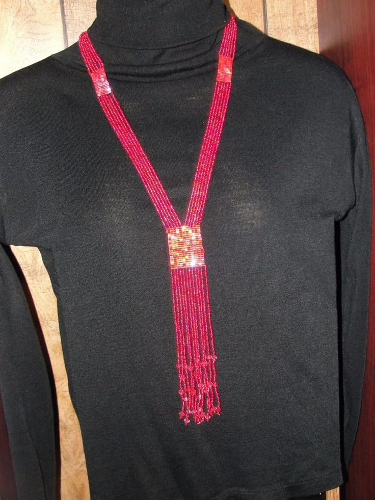 Necklace Seed-beads Flapper Fabulous Statement Red Long
