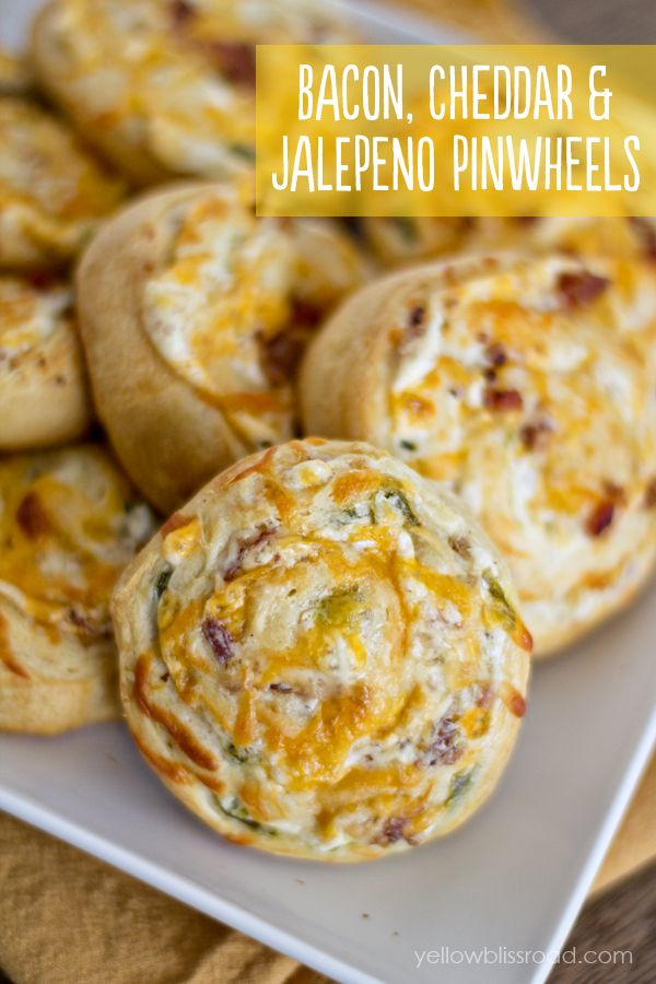 Bacon Cheddar & Jalepeno Pinwheels - made with cream cheese and Pillsbury Crescent Dough for an easy cheesy snack!