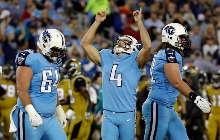 Thursday Night Football: Jaguars vs. Titans:    October 27, 2016  -  36-22, Titans   -    Tennessee Titans kicker Ryan Succop (4) celebrates after kicking a 32-yard field goal against the Jacksonville Jaguars in the first half of an NFL football game Thursday, Oct. 27, 2016, in Nashville, Tenn.