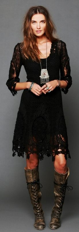 Free People lace dress - interesting with the boots, but not that necklace.*