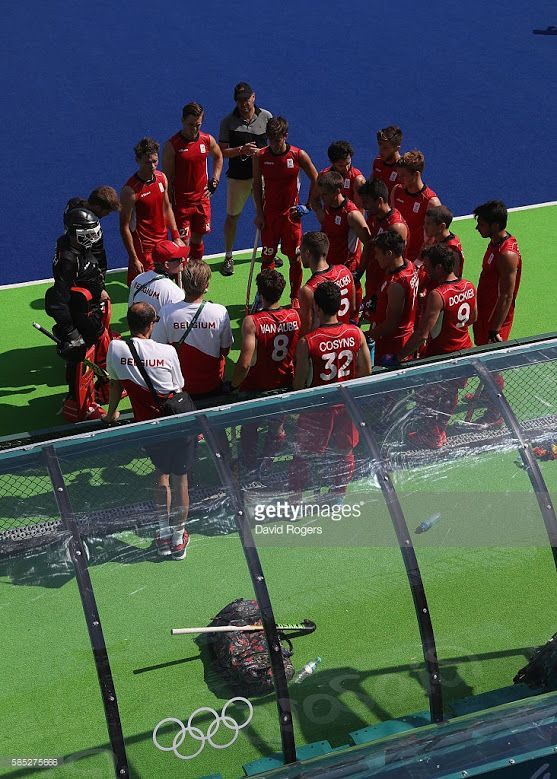 Belgium gather during a pre Olympic hockey warm up match against Argentina at the Deodora Olympic hockey centre during the build up to the Rio Olympic Games on August 2, 2016 in Rio de Janeiro, Brazil.
