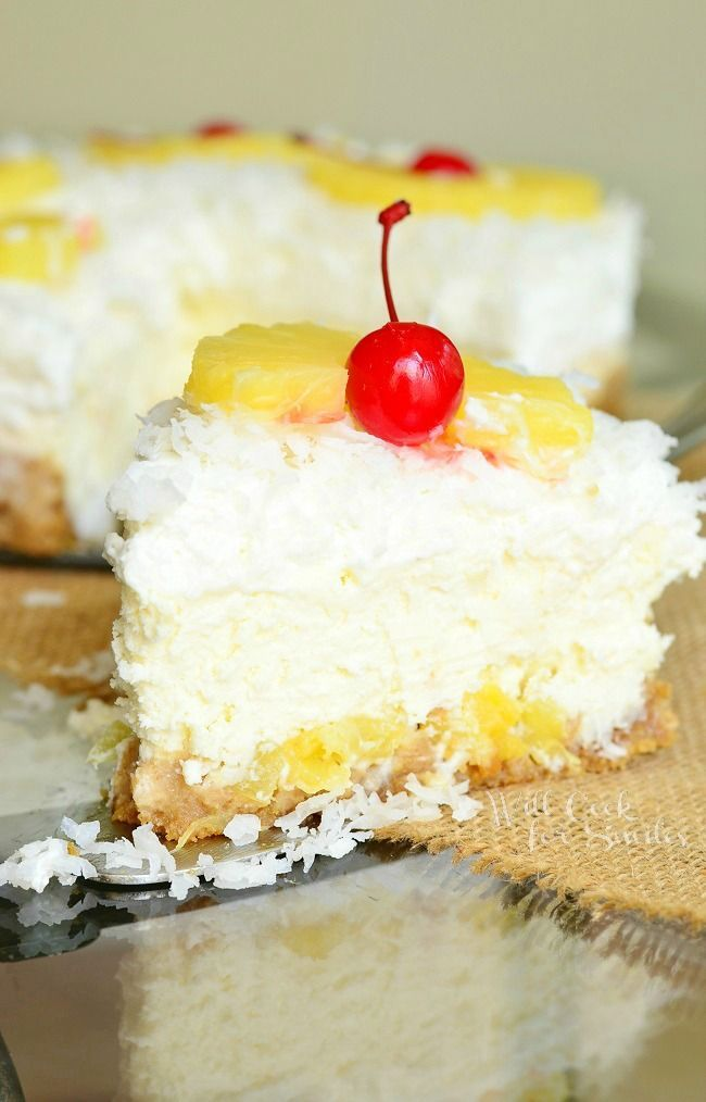 Smooth, creamy cheesecake that tastes like piña colada. Layers of pineapple chunks and coconut topped with coconut flavored cheesecake and baked to a smooth perfection.