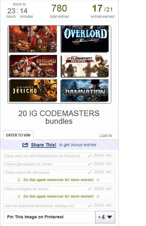 20 ig codemasters bundles