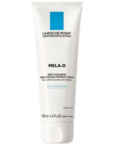 Mela-D Cleanser Skin Brightening Foaming Cream: Deep Cleansing Brightening Foaming Cream.  Gentle, non-particle exfoliating cleansing for visibly even, more radiant skin.  With 0.1% micro-exfoliating Lipo-Hydroxy Acid [LHA] to help shed dark cells from skin's surface.