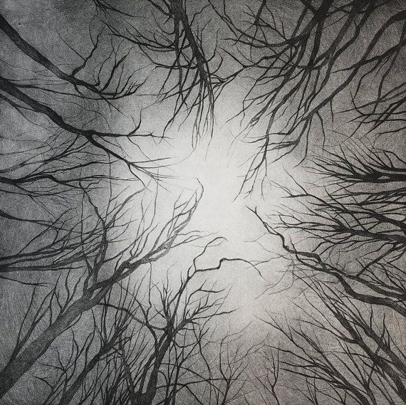 Promenons-nous...dans les forêts, série 1. Estampe originale darbres en hiver obtenue à partir de limpression à la main sur presse taille douce dune gravure réalisée à la pointe sèche sur plaque de rhénalon. Dimensions de la plaque gravée : 30 x 30 cm. Limpression est réalisée sur