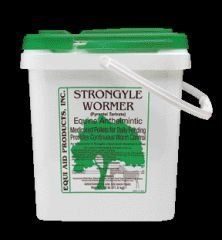Equi Aid Strongyle Daily Pelleted Wormer by Farnam. $70.79. Size: 25 Pound. Equi Aid(R) Strongyle Wormer controls 18 of the most common species and stages of equine parasites including large and small strongyles, pinworms, large roundworms and ascarids. Intended for daily use, one scoop of these delicious alfalfa-based pellets should be mixed into your horse's feed. Safe for all horses, including pregnant mares, foals and stallions. This 25 lb. bucket will worm a 1,000 lb....