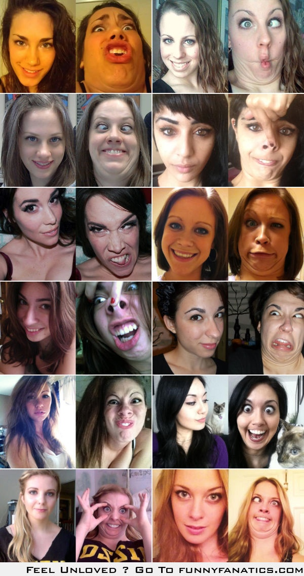 Pretty girls making ugly faces: before and after