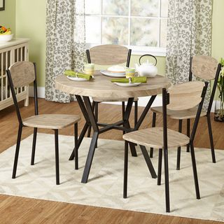 Vie Natural/ Black Contemporary 5 Piece Dining Set