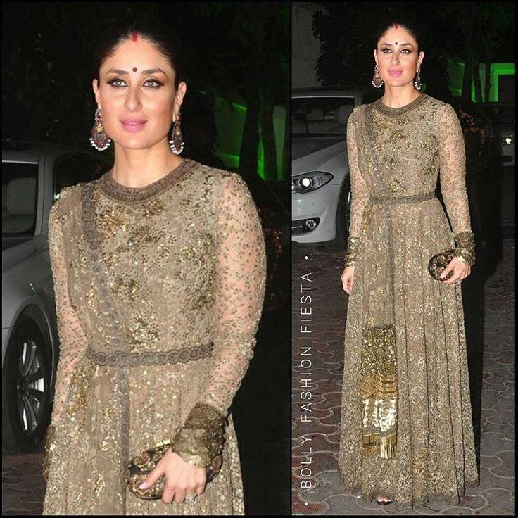 """Ethereal In @SabyasachiOfficial, #KareenaKapoorKhan at Shilpa Shetty - Raj Kundra's Diwali Bash. ❤ How Stunning did she look!  Styled By @TanGhavri, Hair…"""